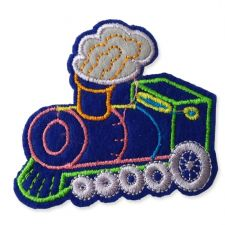 BLUE TRAIN MOTIF IRON ON EMBROIDERED PATCH APPLIQUE